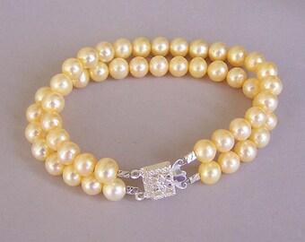 Pale yellow pearl bracelet, double strand yellow freshwater pearl bracelet, bridal elegance