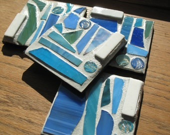 SALE - Blue White Sand Recycled Mosaic Coasters (Set of 4)