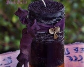 BLACK ORCHID Gothic Witches Shimmer Dusted Pillar Candle with Bronze Ochid Charm on Purple Ribbon