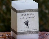 HONOR ANCESTORS Old European™ Signature Square Pillar Candle w/ White Amber for Ancestral Altar, Heathen Blot Ritual, Seidr Witchcraft