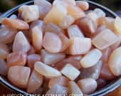 PEACH MOONSTONE Tumbled Gem in Jewelry Pouch for Goddess Moon Lunar Alchemy, Rites Involving Divination, Psychic Powers, Gentle Protection