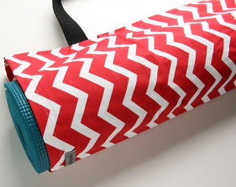 Yoga Mat Bag, Red Yoga Bag, Yoga Mat Carrier, Chevron, Red and White Stripes