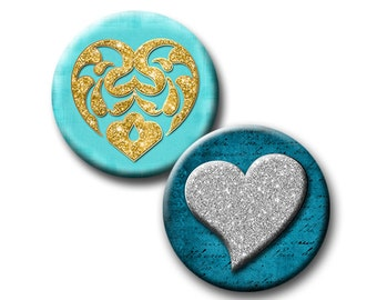 Glitter and Hearts - 1 and 1.25 inch Circles - Digital collage sheet