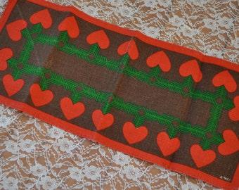 Swedish Hearts Table Runner/Vintage 1970s/Printed Linen Runner Signed Anki