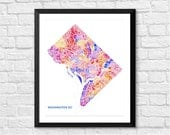 Washington DC Art Map Print.  Color Options and Size Options Available.  Map of DC.