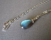 Wire Wrapped Labradorite Necklace, Sterling Silver Labradorite Necklace, Simple, Small