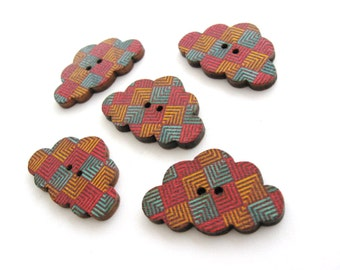 5 Cloud wood sewing buttons