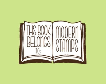 Custom Rubber Stamp   Custom Stamp   Personalized Stamp   Teacher Gifts   This book belongs to Stamp   From the library of Stamp   C262