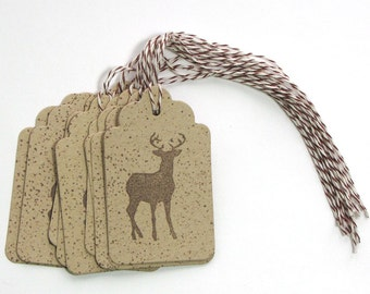 Deer paper gift tags - Kraft Favor Tags - Buck Gift tags - deer Party Tags - party favor tags - masculine tags - guy tags - baby shower tags