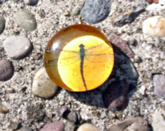 yellow dragon fly glass collage pendant-  hippie, hipster, rainbow, boho, bug, handmade, jewelry supplies, dragonfly