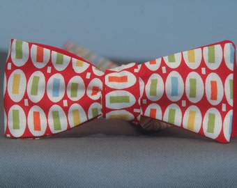 Dots and Dashes on Red  Bow Tie