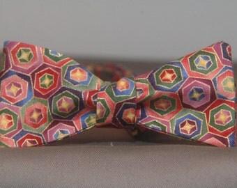 Technicolor Hexagon Happiness  Bow Tie