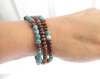 Set of 3 Bohemian Dainty Bead Stacking Bracelets Stretch Boho Stacked Bracelet Set