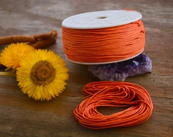 Orange: Braided, Cotton Cord 1mm, 25ft (8.33 yards) / Lava thread / Perfect for Shamballa, DIY Supplies, Cotton Twine, Supplies