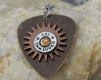 I Pick Hunting 9mm Bullet Guitar Pick Necklace