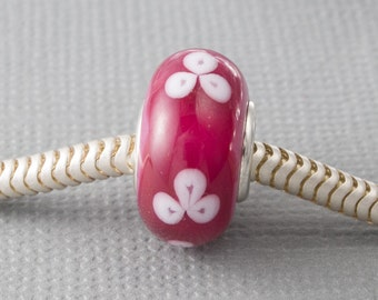 SIlver Cored Pink Charm Beads