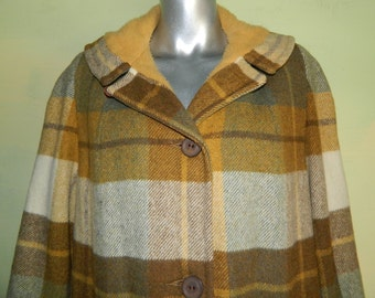 L 50s 60s Betty Rose Plaid Coat Wool Warm Winter Coat Shawl Collar Pile Lined