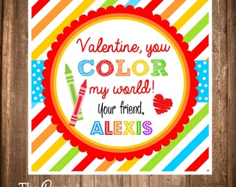 Printable Valentineu0027s Day Gift Tags, Valentine Gift Tags, Digital Tags,  Rainbow Crayons,