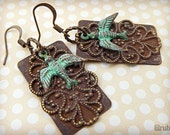 Rusty filigree earrings with birds, verdigris patina, vintage inspired