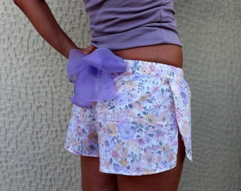 LOUNGEWEAR SHORTS Purple French Knickers Christmas Gift Pajama Bottoms Floral Pants Scalloped Sleepwear One of a kind Unique