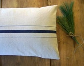 grainsack pillow cover - navy blue stripe - canvas - vintage style - farmhouse