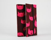 Adjustable paperback book cover - Purrfectly happy in raspberry