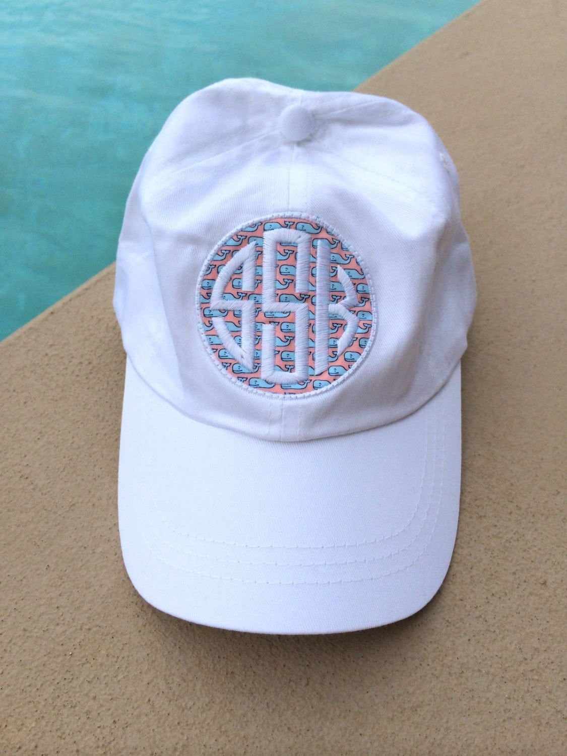preppy whale fabric monogrammed baseball hat