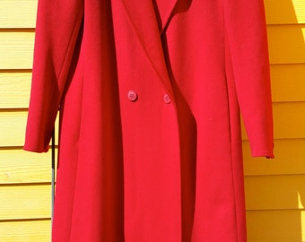 Red Wool Full Length Pea Coat Ladies Size Small