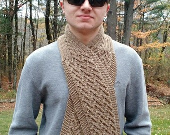 Scarf Cowl Neckwarmer men women -  PDF Knitting Pattern - Herringbone Seamans Scarf -  Help support the Wounded Warrior Project