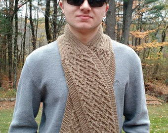 Knitting Pattern - Scarf Cowl Neckwarmer men women unisex DIY gift - Herringbone Seamans Scarf -  Help support the Wounded Warrior Project