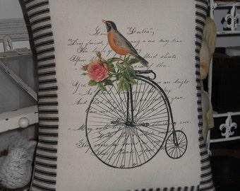 Robin on Vintage Bike Postcard Pillow Black and Off  White Ticking Stripe, Decorative Throw Pillow