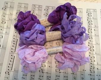 Crinkled Seam Binding 15 Yards, Purple Pansy, Light Purple, Violet Seam Binding Ribbon