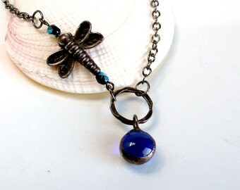 Cobalt Blue Glass Drop And Dragonfly Necklace - Stained glass Jewelry Necklace