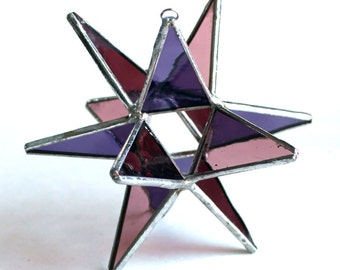 NEW Stained Glass Moravian Star - Four Seasons Violet Autumn-Home Decor -  4.5""