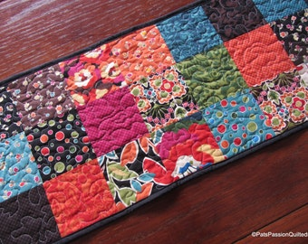 Modern Quilted Patchwork Table Runner Bold Colors Oh My #2
