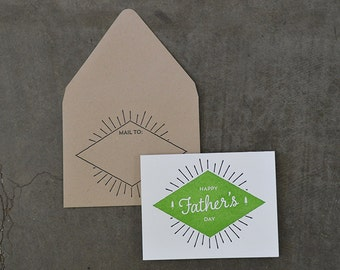 Happy Father's Day Burst Letterpress Greeting Card