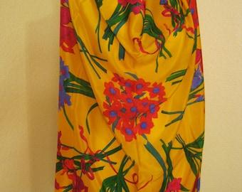 """Vintage 80s bright flowers tulips irises daffodils silk scarf, Claiborne flowers silk scarf, 31"""" silk flowers scarf, flower bouquets scarf"""