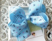 INVENTORY BLOWOUT SALE----Simple Large 4 Inch Hair Bow----Anchors Away----Blue---
