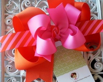 NEW---Big Boutique Doubled Layered Hair Bow Clip----Fancy Orange and Hot Pink---