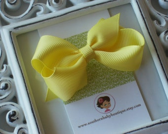 New Item----Little Baby Toddler Girl Hair Bows 2.5 inch----Lemon Yellow----Ready to Ship