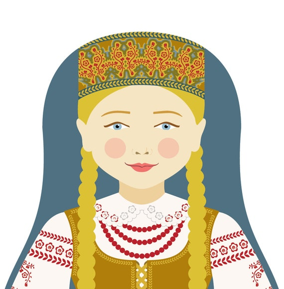 Lithuanian Wall Art Print with culturally traditional dress drawn in a Russian matryoshka nesting doll shape