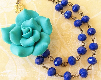 Bib Necklace Flower Necklace Teal Jewelry Beaded Necklace Teal Necklace Double Strand