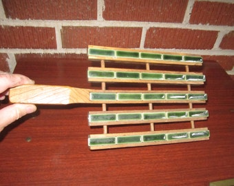 Vintage Mid Century Modern Green Tile Wooden Footed Trivet with Handle