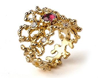 CORAL Gold Tourmaline Ring, Diamond Engagement Ring, Pink Tourmaline Engagement Ring, Gold Gemstone Ring