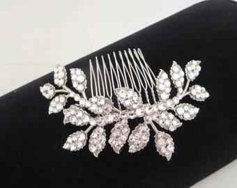 Bridal Hair comb, Leaf hair comb, Wedding headpiece, Leaf headpiece, Wedding hair accessory, Wedding hair comb, Hair clip, Swarovski crystal