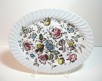 "Johnston Bros. Staffordshire Bouquet 14"" Oval Platter"
