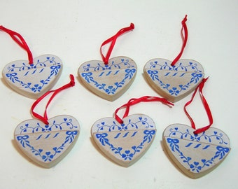 Vintage Country French Wood Heart Ornaments