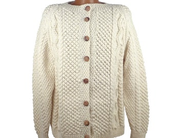 Cardigan Sweater Vintage 1980s Cream Chunky Knit Oversized Off White