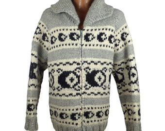 Cardigan Cowichan Sweater Vintage 1980s White Black and Gray Tribal Zip Up Thick Heavy ChunkyKnit