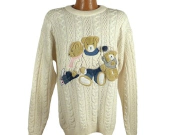 Teddy Bear Sweater Vintage 1980s Together Brand Oversize Missy M
